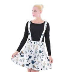 Spring Flowers And Birds Pattern Suspender Skater Skirt