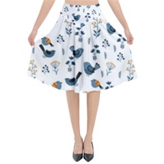 Spring Flowers And Birds Pattern Flared Midi Skirt