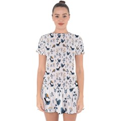 Spring Flowers And Birds Pattern Drop Hem Mini Chiffon Dress