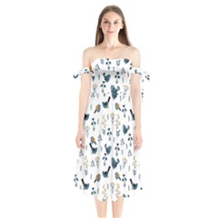 Spring Flowers And Birds Pattern Shoulder Tie Bardot Midi Dress