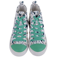 Spring Flowers And Birds Pattern Women s Mid Top Canvas Sneakers