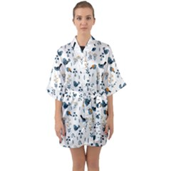 Spring Flowers And Birds Pattern Quarter Sleeve Kimono Robe