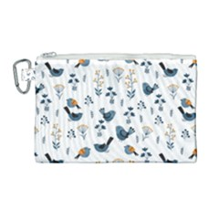 Spring Flowers And Birds Pattern Canvas Cosmetic Bag (large)