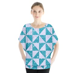 Triangle1 White Marble & Turquoise Glitter Blouse