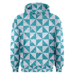 Triangle1 White Marble & Turquoise Glitter Men s Overhead Hoodie