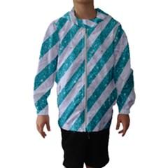 Stripes3 White Marble & Turquoise Glitter (r) Hooded Wind Breaker (kids)