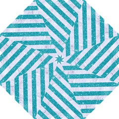 Stripes3 White Marble & Turquoise Glitter Hook Handle Umbrellas (large)
