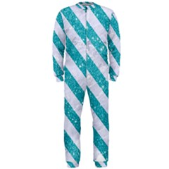 Stripes3 White Marble & Turquoise Glitter Onepiece Jumpsuit (men)