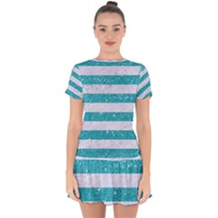 Stripes2white Marble & Turquoise Glitter Drop Hem Mini Chiffon Dress