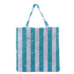 Stripes1 White Marble & Turquoise Glitter Grocery Tote Bag