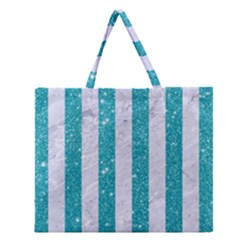 Stripes1 White Marble & Turquoise Glitter Zipper Large Tote Bag