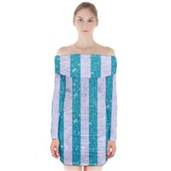 Stripes1 White Marble & Turquoise Glitter Long Sleeve Off Shoulder Dress