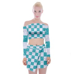 Square1 White Marble & Turquoise Glitter Off Shoulder Top With Mini Skirt Set