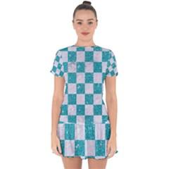Square1 White Marble & Turquoise Glitter Drop Hem Mini Chiffon Dress