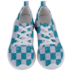 Square1 White Marble & Turquoise Glitter Women s Lightweight Sports Shoes