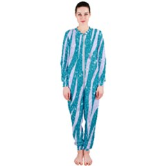 Skin3 White Marble & Turquoise Glitter Onepiece Jumpsuit (ladies)