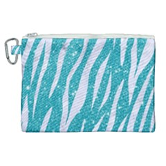 Skin3 White Marble & Turquoise Glitter Canvas Cosmetic Bag (xl)