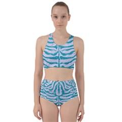 Skin2 White Marble & Turquoise Glitter (r) Racer Back Bikini Set
