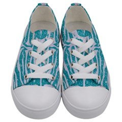 Skin2 White Marble & Turquoise Glitter Kids  Low Top Canvas Sneakers