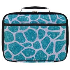 Skin1 White Marble & Turquoise Glitter (r) Full Print Lunch Bag