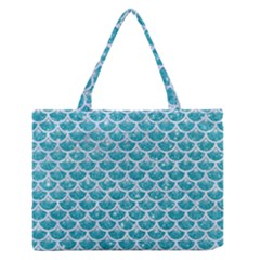 Scales3 White Marble & Turquoise Glitter Zipper Medium Tote Bag
