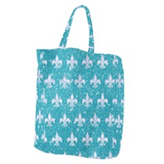 Royal1 White Marble & Turquoise Glitter (r) Giant Grocery Zipper Tote