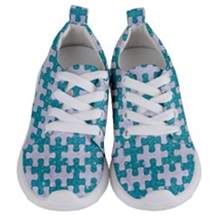 Puzzle1 White Marble & Turquoise Glitter Kids  Lightweight Sports Shoes