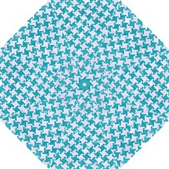 Houndstooth2 White Marble & Turquoise Glitter Hook Handle Umbrellas (small)