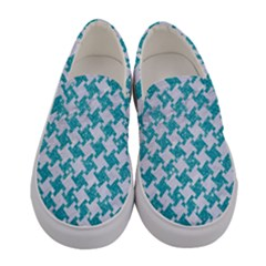 Houndstooth2 White Marble & Turquoise Glitter Women s Canvas Slip Ons