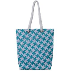 Houndstooth2 White Marble & Turquoise Glitter Full Print Rope Handle Tote (small)
