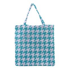 Houndstooth1 White Marble & Turquoise Glitter Grocery Tote Bag
