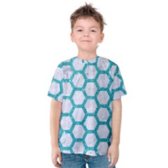 Hexagon2 White Marble & Turquoise Glitter (r) Kids  Cotton Tee