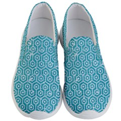 Hexagon1 White Marble & Turquoise Glitter Men s Lightweight Slip Ons