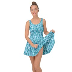 Hexagon1 White Marble & Turquoise Glitter Inside Out Dress