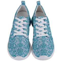 Damask2 White Marble & Turquoise Glitter (r) Men s Lightweight Sports Shoes