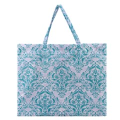 Damask1 White Marble & Turquoise Glitter (r) Zipper Large Tote Bag