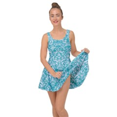 Damask1 White Marble & Turquoise Glitter Inside Out Dress