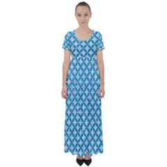 Circles3 White Marble & Turquoise Glitter (r) High Waist Short Sleeve Maxi Dress