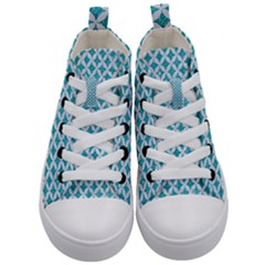 Circles3 White Marble & Turquoise Glitter Kid s Mid Top Canvas Sneakers