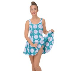 Circles1 White Marble & Turquoise Glitter Inside Out Dress