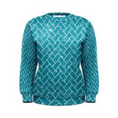 Brick2 White Marble & Turquoise Glitter Women s Sweatshirt