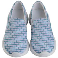 Brick1 White Marble & Turquoise Glitter (r) Kid s Lightweight Slip Ons
