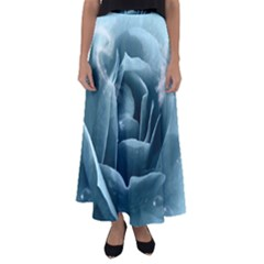 Beautiful Blue Roses With Water Drops Flared Maxi Skirt
