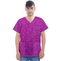Pink  Glitter Men s V Neck Scrub Top