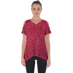 Red  Glitter Cut Out Side Drop Tee