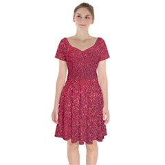 Red  Glitter Short Sleeve Bardot Dress