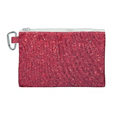 Red  Glitter Canvas Cosmetic Bag (large)