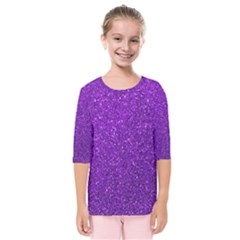 Purple  Glitter Kids  Quarter Sleeve Raglan Tee