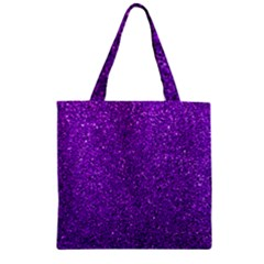 Purple  Glitter Zipper Grocery Tote Bag