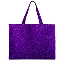 Purple  Glitter Zipper Mini Tote Bag